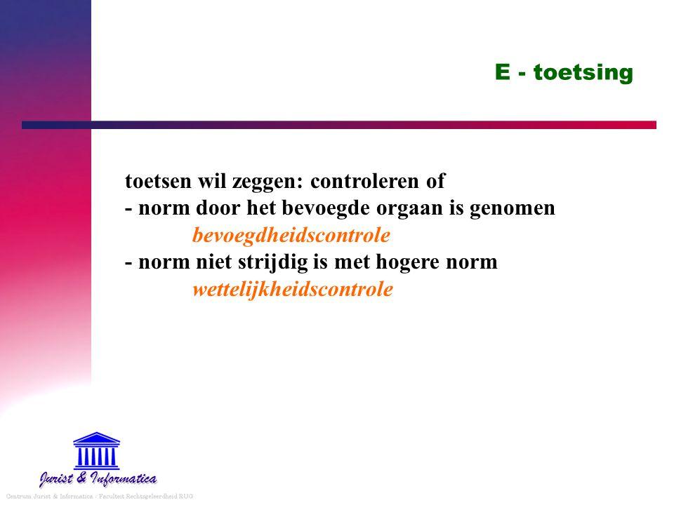 E - toetsing toetsen wil zeggen: controleren of - norm door het bevoegde orgaan is genomen bevoegdheidscontrole - norm niet strijdig is met hogere norm wettelijkheidscontrole