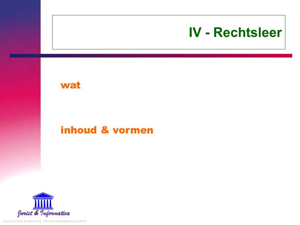 IV - Rechtsleer wat inhoud & vormen