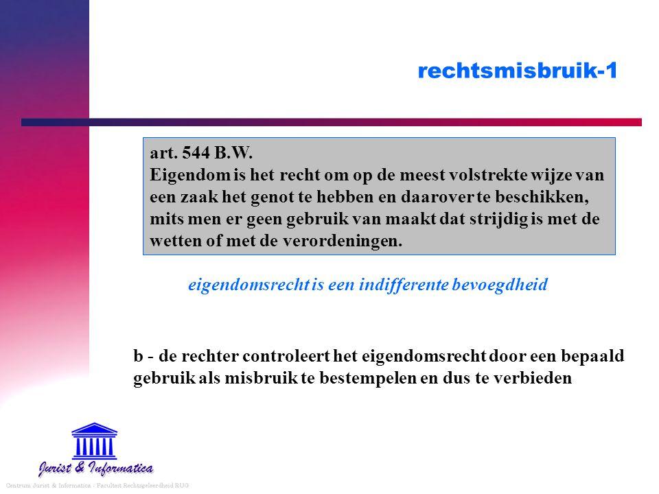 rechtsmisbruik-1 b - de rechter controleert het eigendomsrecht door een bepaald gebruik als misbruik te bestempelen en dus te verbieden art.