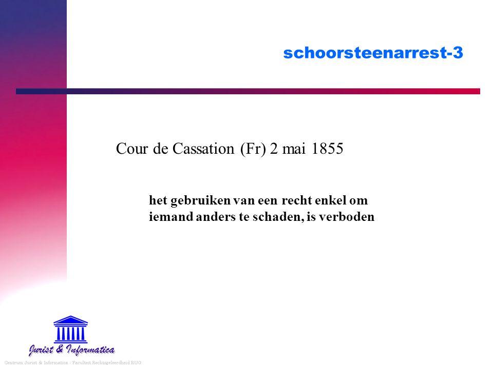 schoorsteenarrest-3 Cour de Cassation (Fr) 2 mai 1855 het gebruiken van een recht enkel om iemand anders te schaden, is verboden