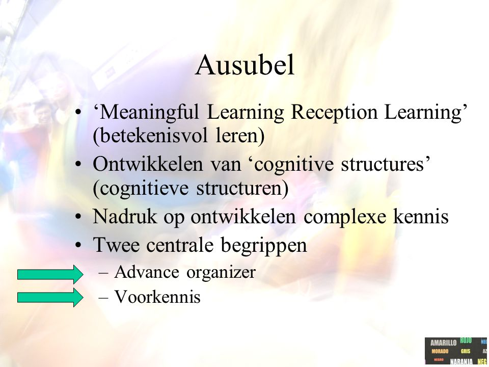 "Ausubel ""The acquisition of subject matter knowledge is primarily a manifestation of reception learning. That is, the principal content of what is to"