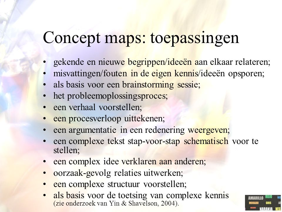 "Concept map: link met cognitivisme Belang van voorkennis Novak (2005): ""We believe one of the reasons concept mapping is so powerful for the facilitat"