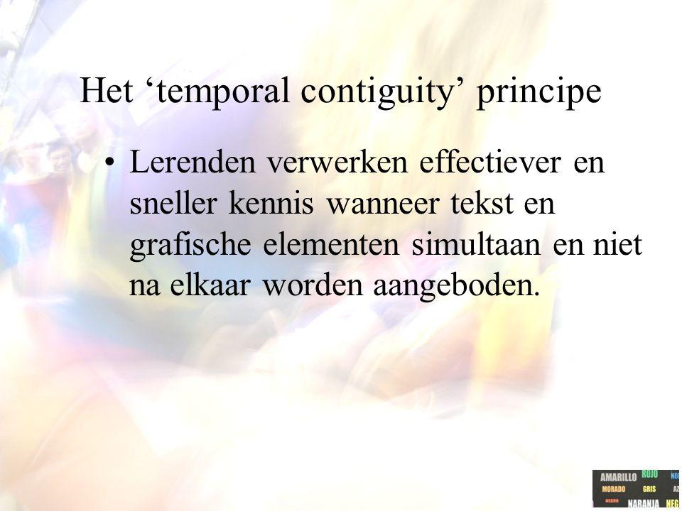 Het 'spatial contiguity' principe Lerenden verwerken beter nieuwe kennis wanneer de tekst dicht bij het relevante beeld staat.