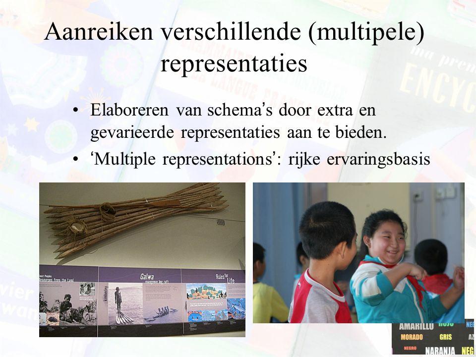 Aanreiken verschillende (multipele) representaties Elaboreren van schema's door extra en gevarieerde representaties aan te bieden. 'Multiple represent