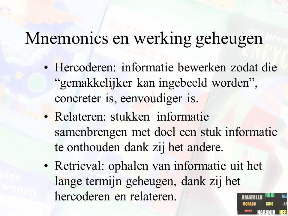 """Mnemonics en werking geheugen Hercoderen: informatie bewerken zodat die """"gemakkelijker kan ingebeeld worden"""", concreter is, eenvoudiger is. Relateren:"""