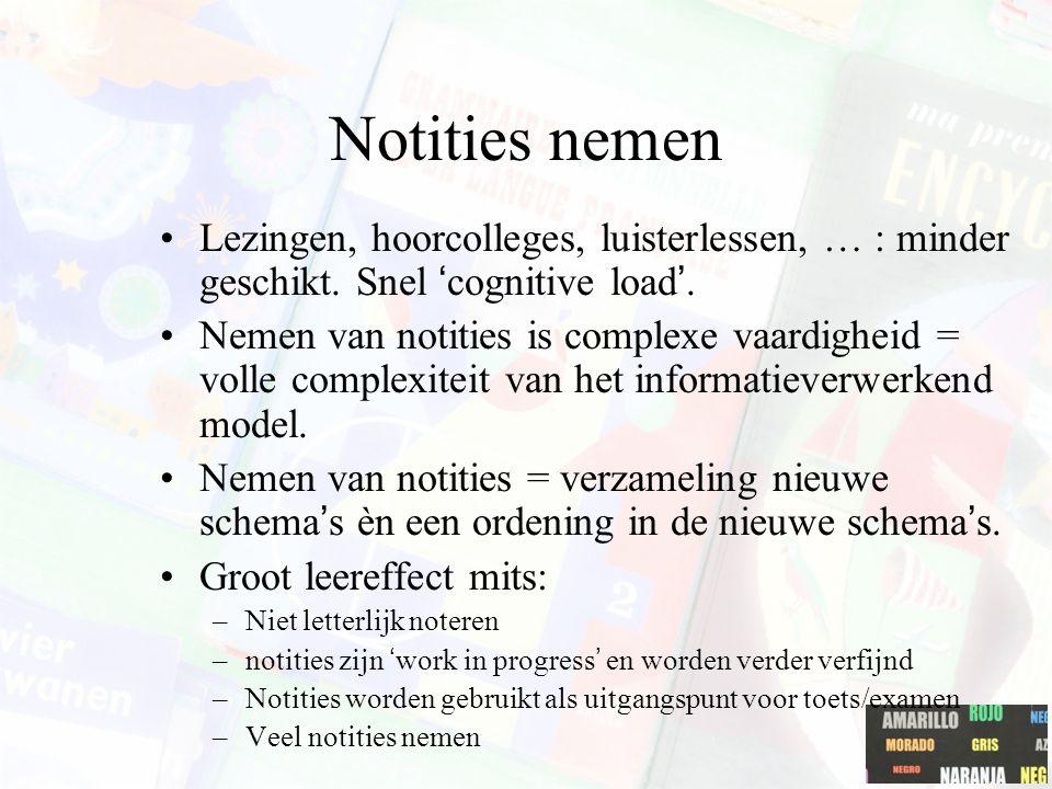 Notities nemen Lezingen, hoorcolleges, luisterlessen, … : minder geschikt. Snel 'cognitive load'. Nemen van notities is complexe vaardigheid = volle c