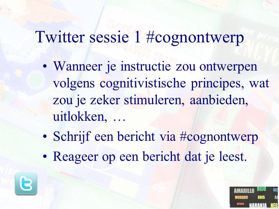 Twitter sessie 1 #cognontwerp Wanneer je instructie zou ontwerpen volgens cognitivistische principes, wat zou je zeker stimuleren, aanbieden, uitlokke