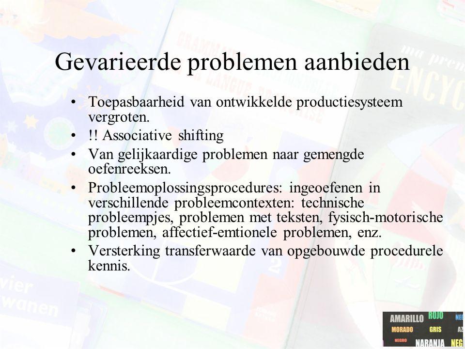 Gevarieerde problemen aanbieden Toepasbaarheid van ontwikkelde productiesysteem vergroten. !! Associative shifting Van gelijkaardige problemen naar ge