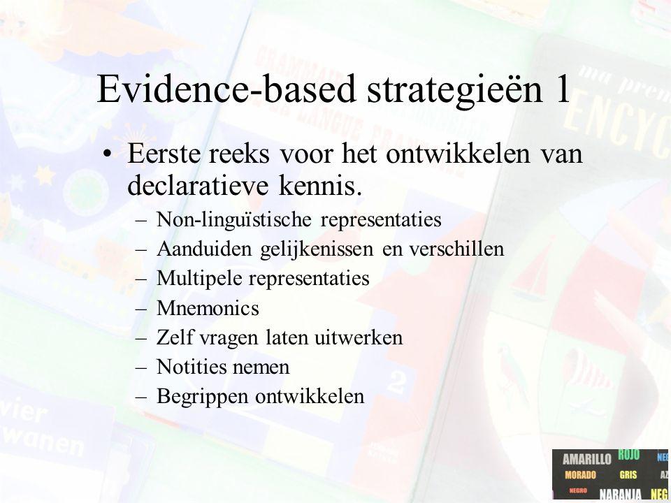 Evidence-based strategieën 1 Eerste reeks voor het ontwikkelen van declaratieve kennis. –Non-linguïstische representaties –Aanduiden gelijkenissen en