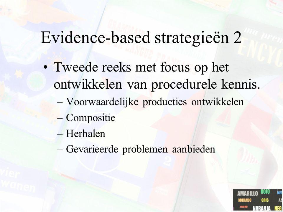 Evidence-based strategieën 2 Tweede reeks met focus op het ontwikkelen van procedurele kennis. –Voorwaardelijke producties ontwikkelen –Compositie –He