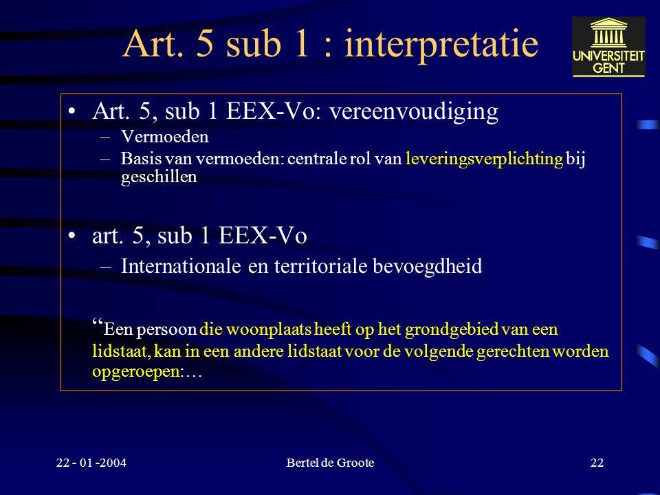 22 - 01 -2004Bertel de Groote21 Art. 5 sub 1 : interpretatie –Elektronisch contract versus geschreven document: –betwisting betreffende bestaan van de