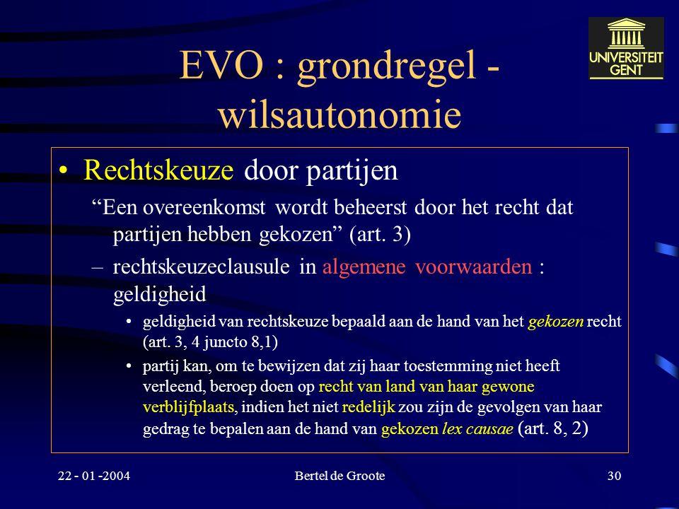 "22 - 01 -2004Bertel de Groote29 Weens Koopverdrag : toepassingsgebied Consumentenovereenkomsten uitgesloten ""Dit Verdrag is niet van toepassing op: a."
