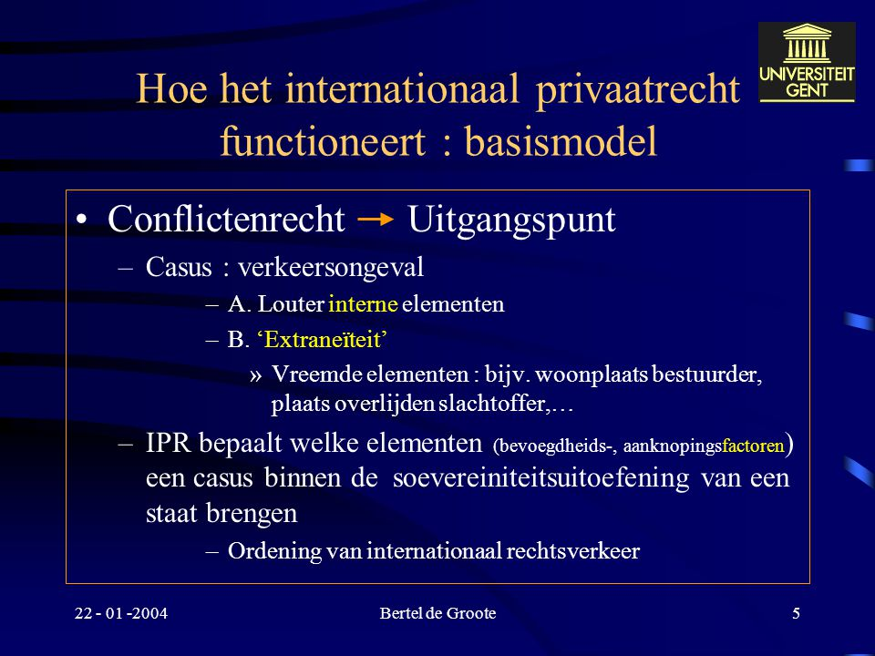 22 - 01 -2004Bertel de Groote4 Het IPR-Probleem : algemeen Uitingsvorm –Rechterlijke bevoegdheid –Rechtskeuzerecht –Erkenning/Tenuitvoerlegging Remedie : Internationaal privaatrecht