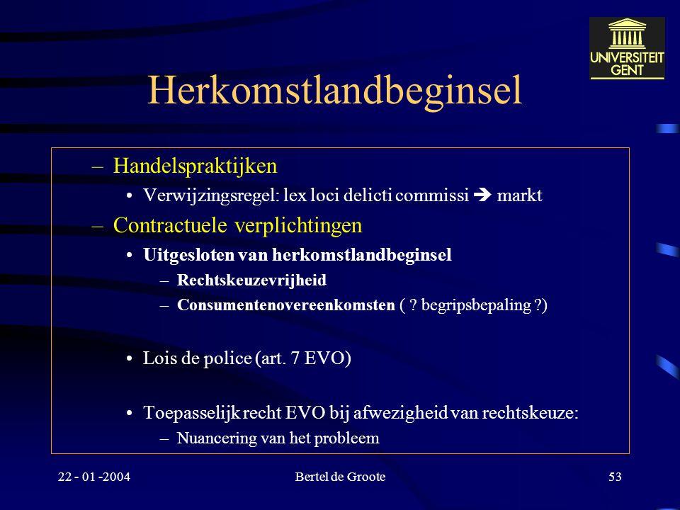 22 - 01 -2004Bertel de Groote52 Herkomstlandbeginsel Verhouding IPR en Richtlijn elektronische handel –Art. 3, 1 Herkomstlandbeginsel voor gecoördinee