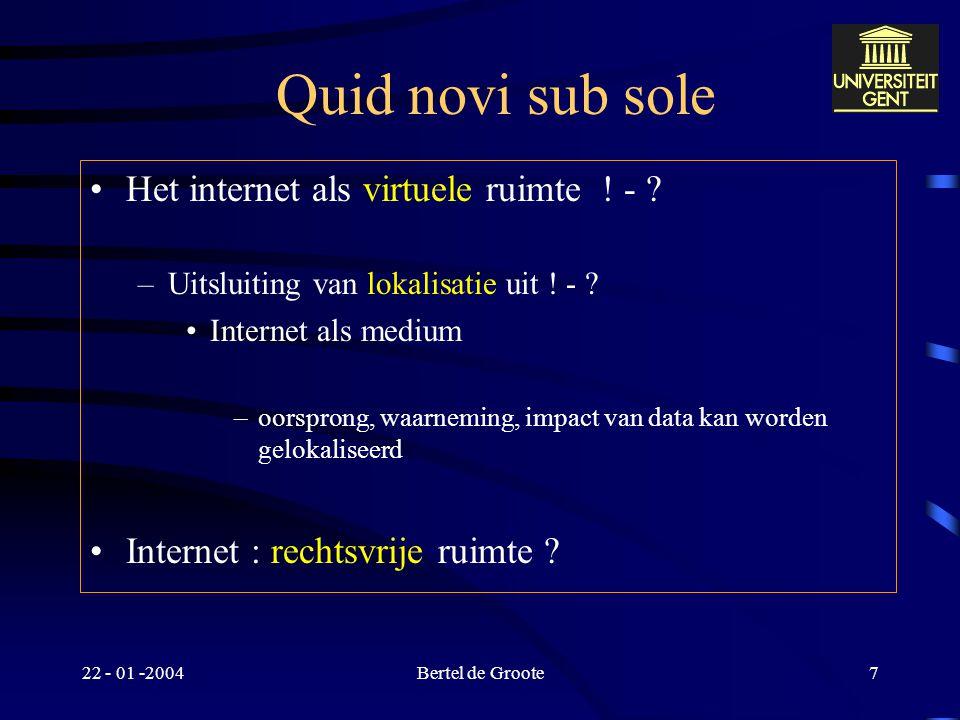 22 - 01 -2004Bertel de Groote7 Quid novi sub sole Het internet als virtuele ruimte .