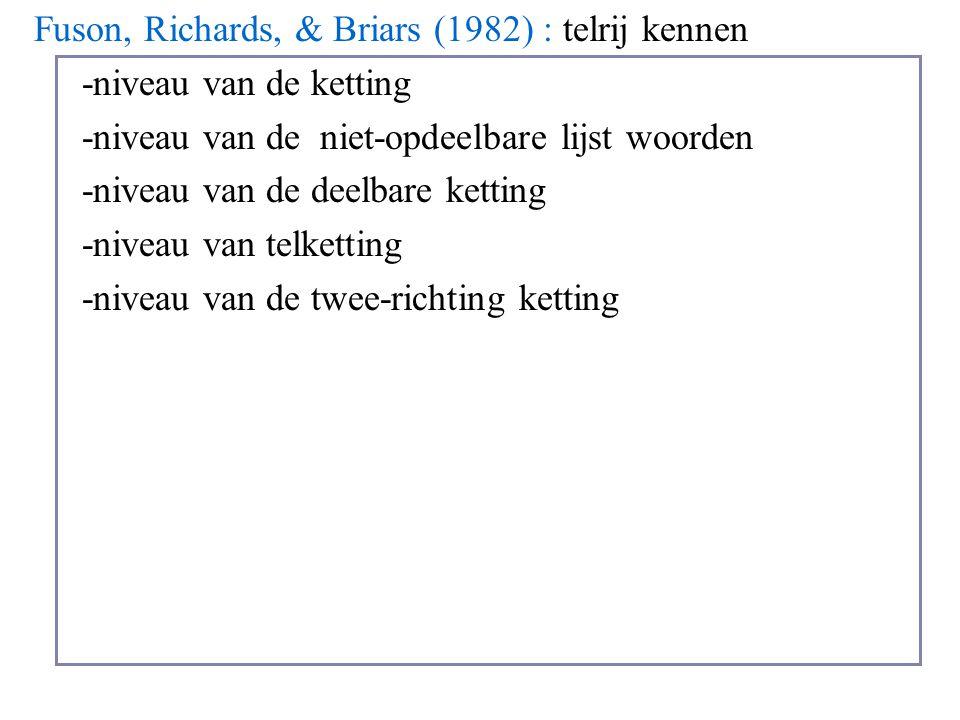 Fuson, Richards, & Briars (1982) : telrij kennen -niveau van de ketting -niveau van de niet-opdeelbare lijst woorden -niveau van de deelbare ketting -