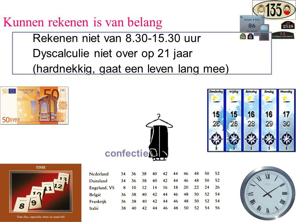 Kunnen rekenen is van belang Rekenen niet van 8.30-15.30 uur Dyscalculie niet over op 21 jaar (hardnekkig, gaat een leven lang mee) confectie
