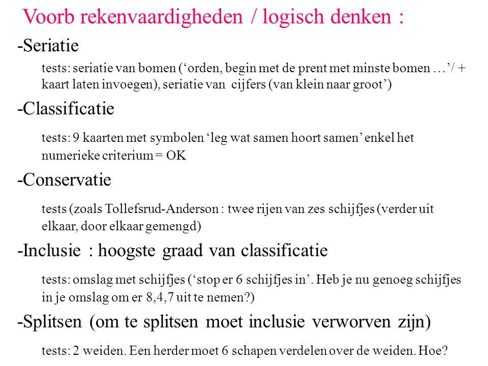 Voorb rekenvaardigheden / logisch denken : -Seriatie tests: seriatie van bomen ('orden, begin met de prent met minste bomen …'/ + kaart laten invoegen