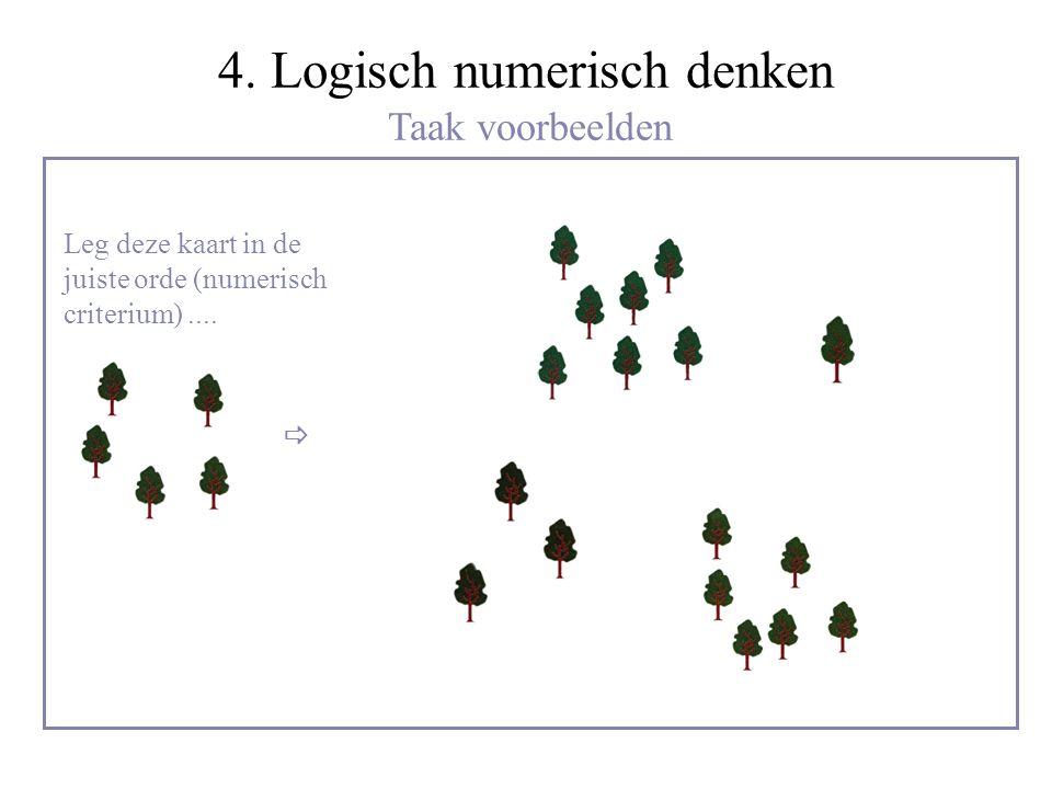 4. Logisch numerisch denken Taak voorbeelden  Leg deze kaart in de juiste orde (numerisch criterium)....