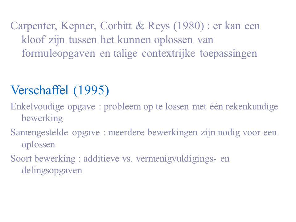 Carpenter, Kepner, Corbitt & Reys (1980) : er kan een kloof zijn tussen het kunnen oplossen van formuleopgaven en talige contextrijke toepassingen Ver
