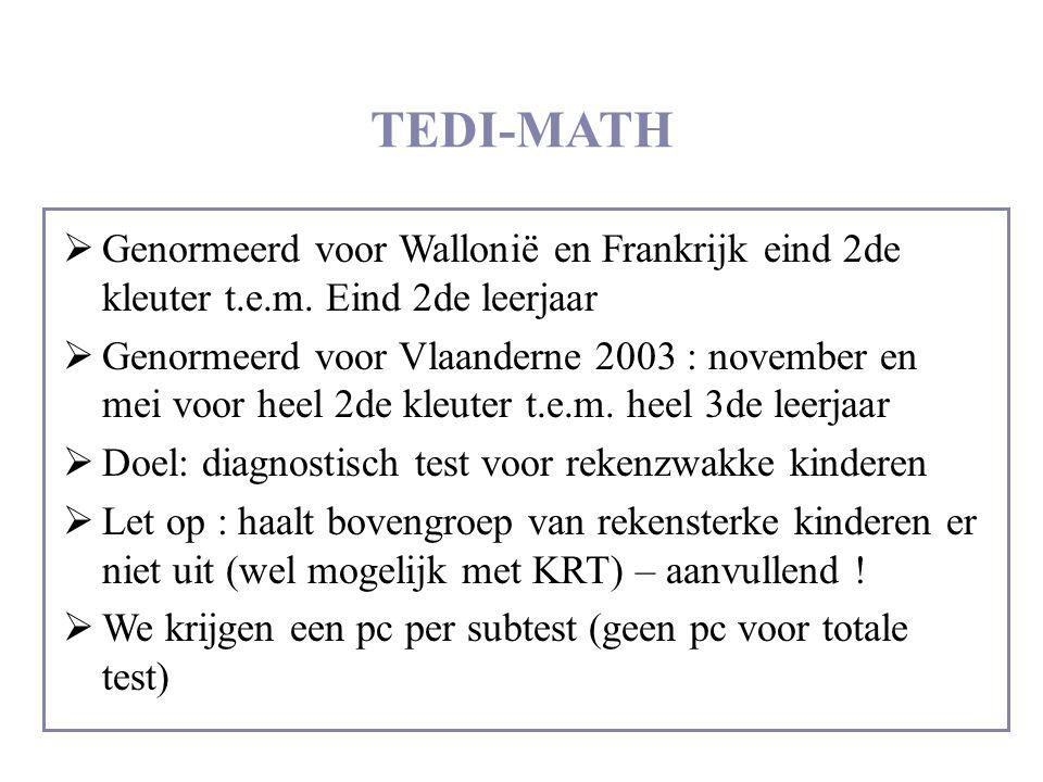 TEDI-MATH  Genormeerd voor Wallonië en Frankrijk eind 2de kleuter t.e.m. Eind 2de leerjaar  Genormeerd voor Vlaanderne 2003 : november en mei voor h