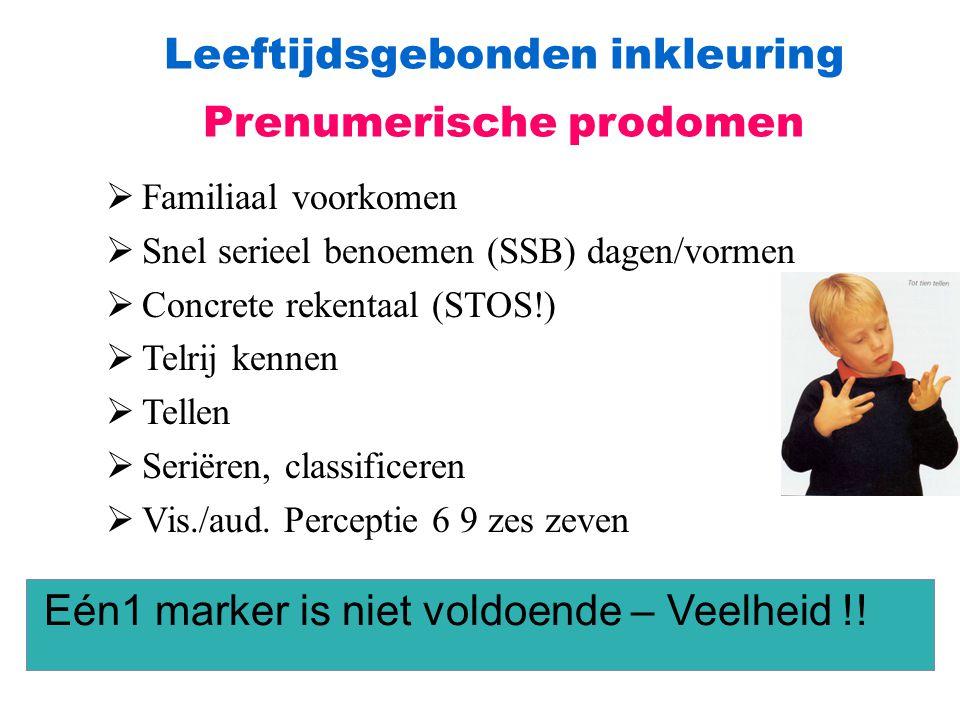 Leeftijdsgebonden inkleuring Prenumerische prodomen  Familiaal voorkomen  Snel serieel benoemen (SSB) dagen/vormen  Concrete rekentaal (STOS!)  Te