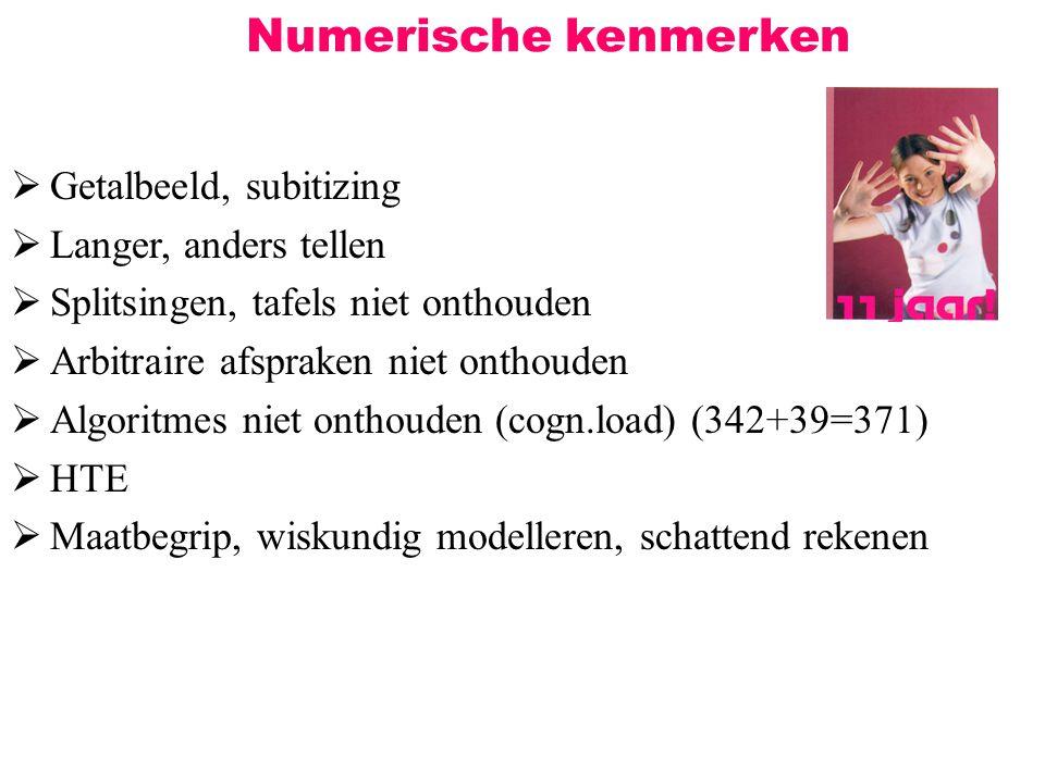 Numerische kenmerken  Getalbeeld, subitizing  Langer, anders tellen  Splitsingen, tafels niet onthouden  Arbitraire afspraken niet onthouden  Alg