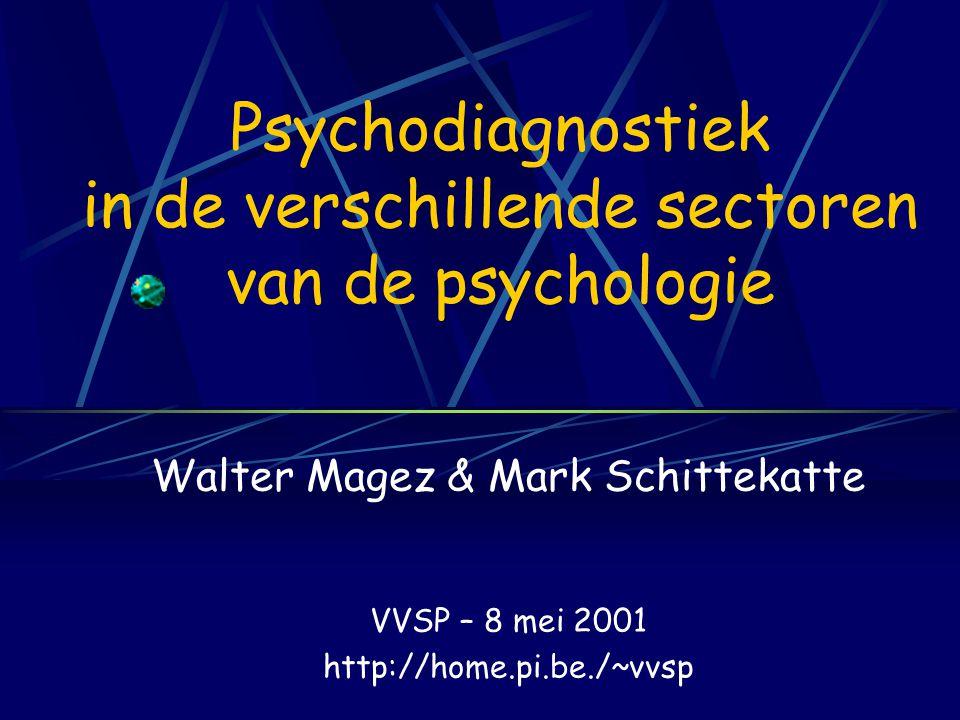 Psychodiagnostiek in de verschillende sectoren van de psychologie Walter Magez & Mark Schittekatte VVSP – 8 mei 2001 http://home.pi.be./~vvsp