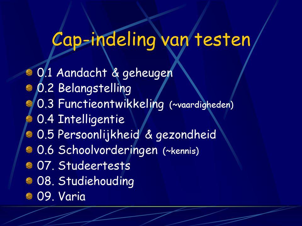 CAP- Vademecum van diagnostische instrumenten en methoden voor CLB, Versie 2001