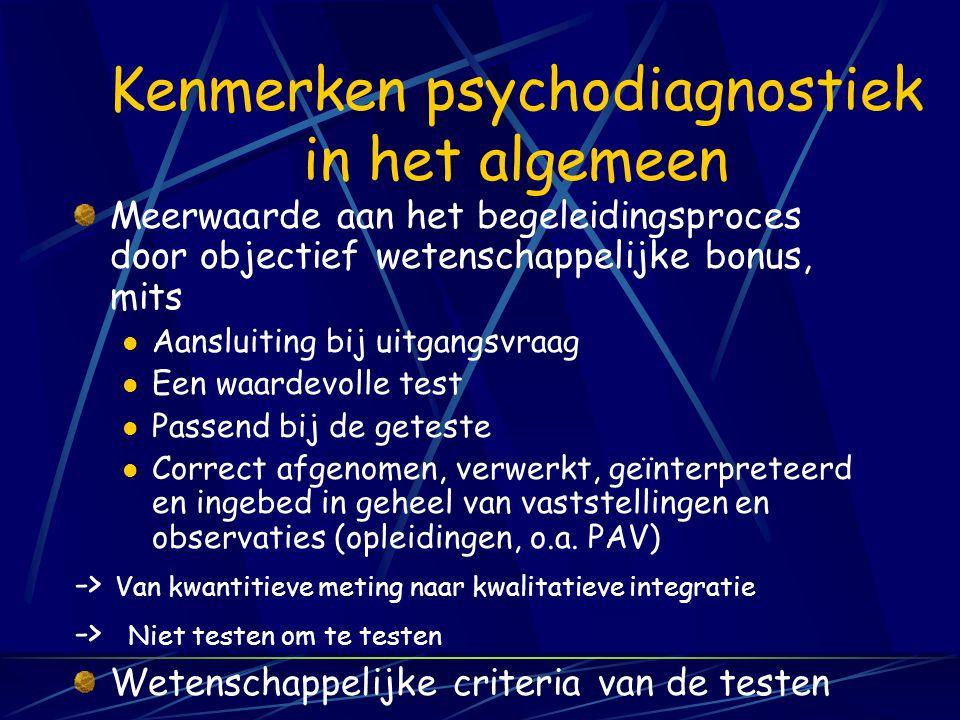 Intelligentietests (documentatie van tests en testresearch…) PM van Raven (+, -normen) Wechsler-tests (+) Rakit (++) Son-R (++) GIT (+) G-test (-) GATB (+) MOS & DOS & BOS