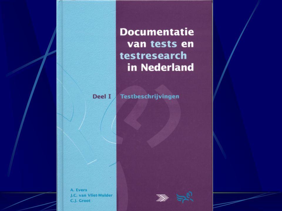 Documentatie van tests en testresearch in Nederland, van de COTAN 457 Testbeschrijvingen Populatie/meetpretentie/wijze van afnemen/… Beoordeling: uitg
