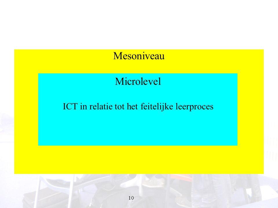10 Mesoniveau Flexibiliteit Opbouw curriculum Kenmerken doelpubliek Microlevel ICT in relatie tot het feitelijke leerproces