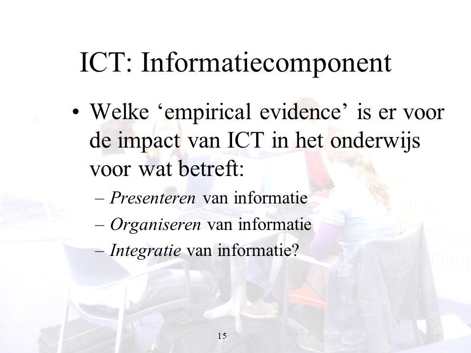 15 ICT: Informatiecomponent Welke 'empirical evidence' is er voor de impact van ICT in het onderwijs voor wat betreft: –Presenteren van informatie –Or