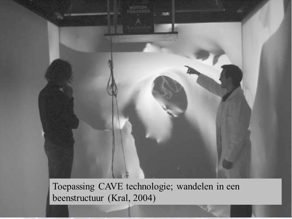 19 Toepassing CAVE technologie; wandelen in een beenstructuur (Kral, 2004)