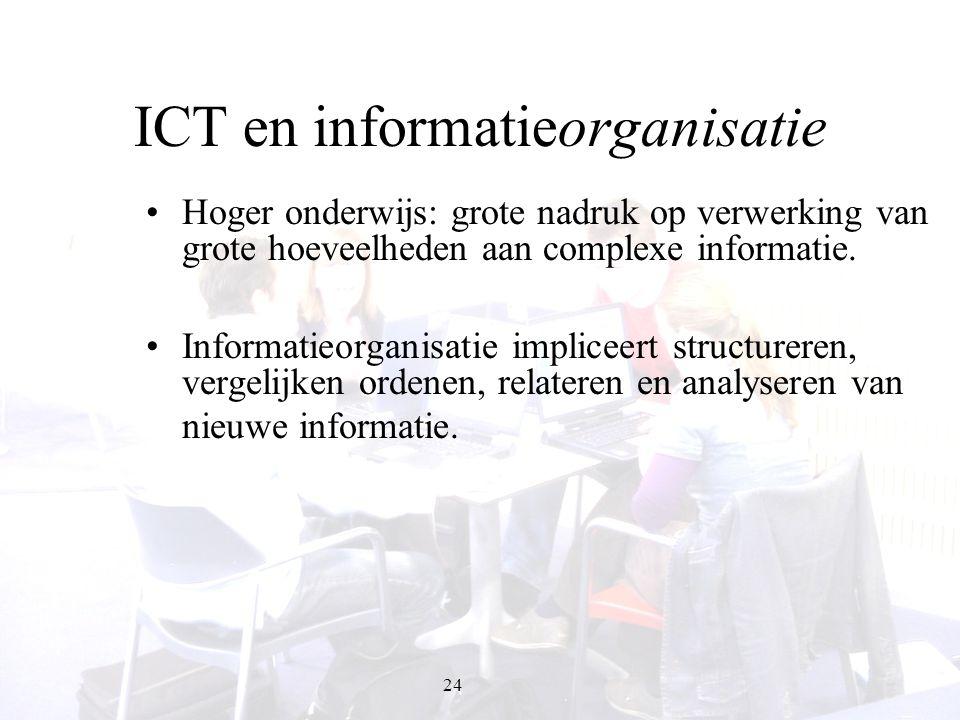 24 ICT en informatieorganisatie Hoger onderwijs: grote nadruk op verwerking van grote hoeveelheden aan complexe informatie. Informatieorganisatie impl
