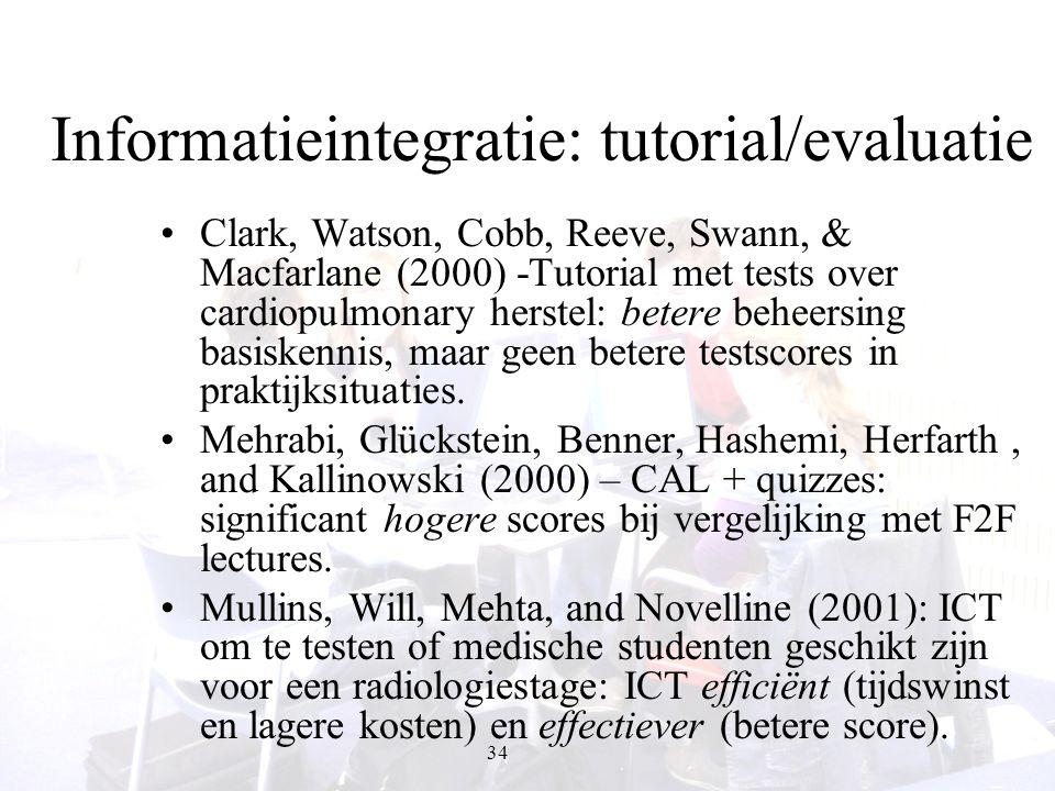 34 Informatieintegratie: tutorial/evaluatie Clark, Watson, Cobb, Reeve, Swann, & Macfarlane (2000) -Tutorial met tests over cardiopulmonary herstel: b