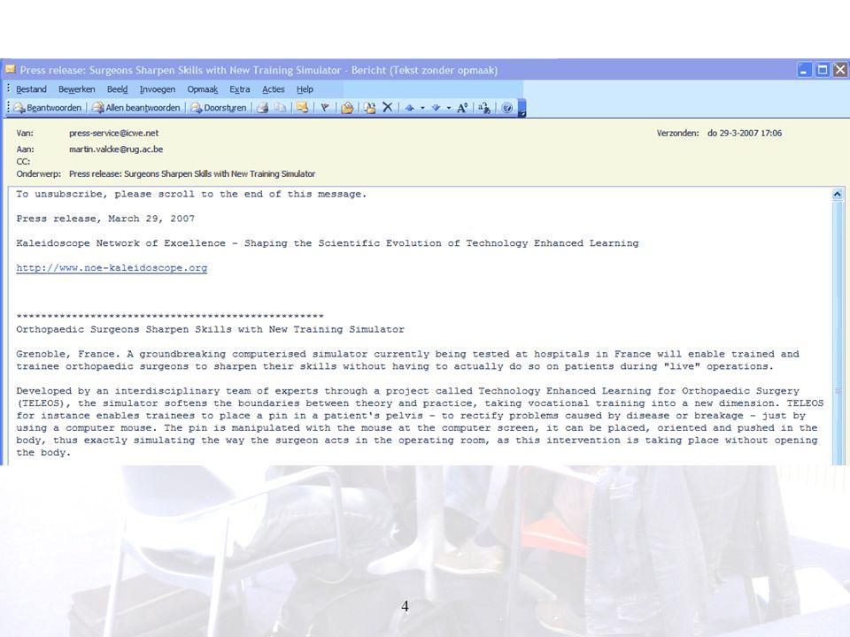 45 ICT communication: teleteaching Filler et al.(2000) - haalbaarheidsonderzoek: positief.