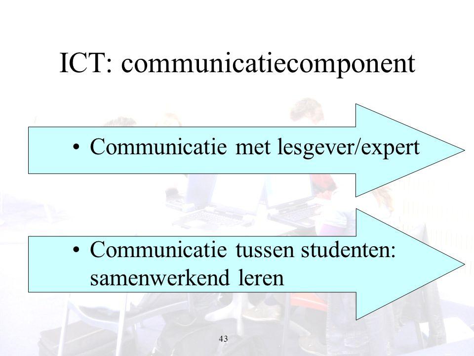 43 ICT: communicatiecomponent Communicatie met lesgever/expert Communicatie tussen studenten: samenwerkend leren