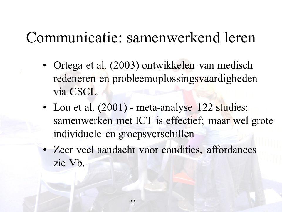 55 Communicatie: samenwerkend leren Ortega et al. (2003) ontwikkelen van medisch redeneren en probleemoplossingsvaardigheden via CSCL. Lou et al. (200