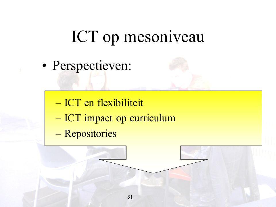 61 ICT op mesoniveau Perspectieven: –ICT en flexibiliteit –ICT impact op curriculum –Repositories