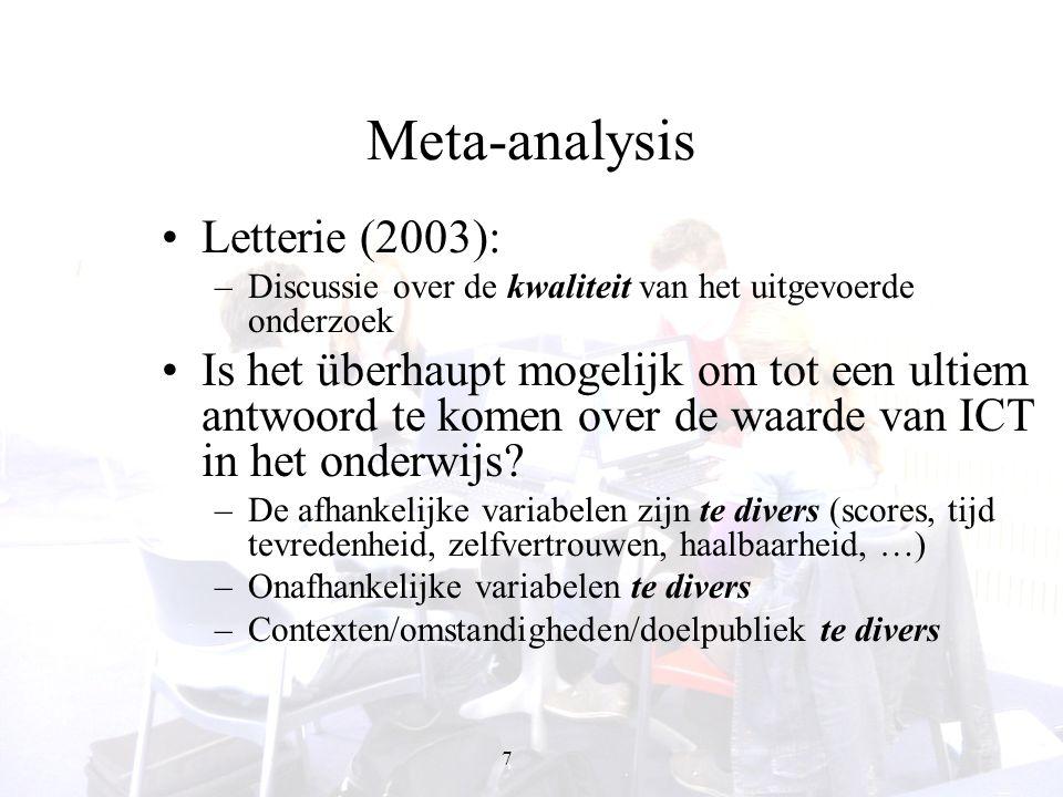 18 ICT fosters information presentation Toevoegen multimedia in ICT verhoogt retentie en transfer van kennis (Mayer en co, 2000 … 2005) maar dit kan verschillen in andere kennisdomeinen (De Westelinck & Valcke, 2004, 2005).