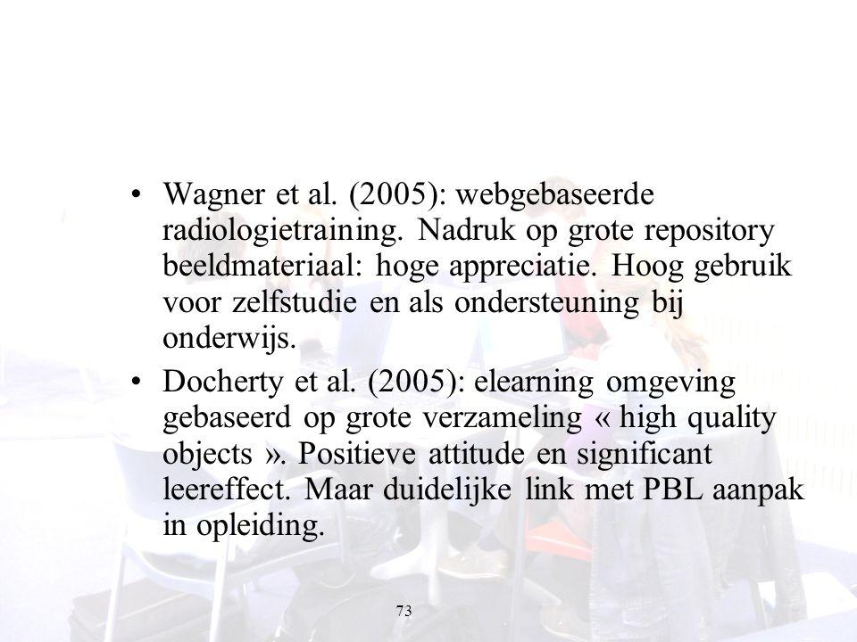 73 Wagner et al. (2005): webgebaseerde radiologietraining. Nadruk op grote repository beeldmateriaal: hoge appreciatie. Hoog gebruik voor zelfstudie e