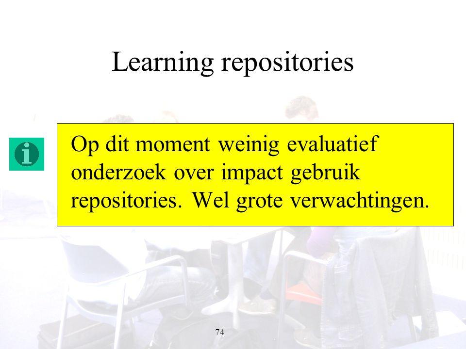 74 Learning repositories Op dit moment weinig evaluatief onderzoek over impact gebruik repositories. Wel grote verwachtingen.