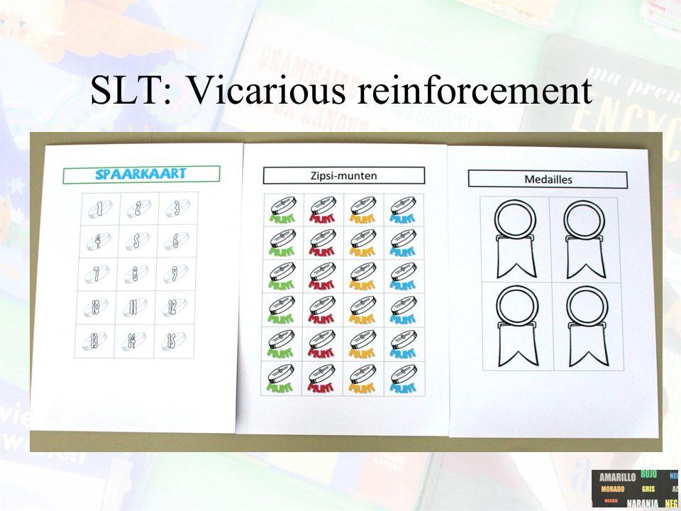 SLT: Vicarious experiencec Leren door observatie van levende en/of 'symbolische' modellen. Mechanismen: 'vicarious reinforcement', 'vicarious punishme