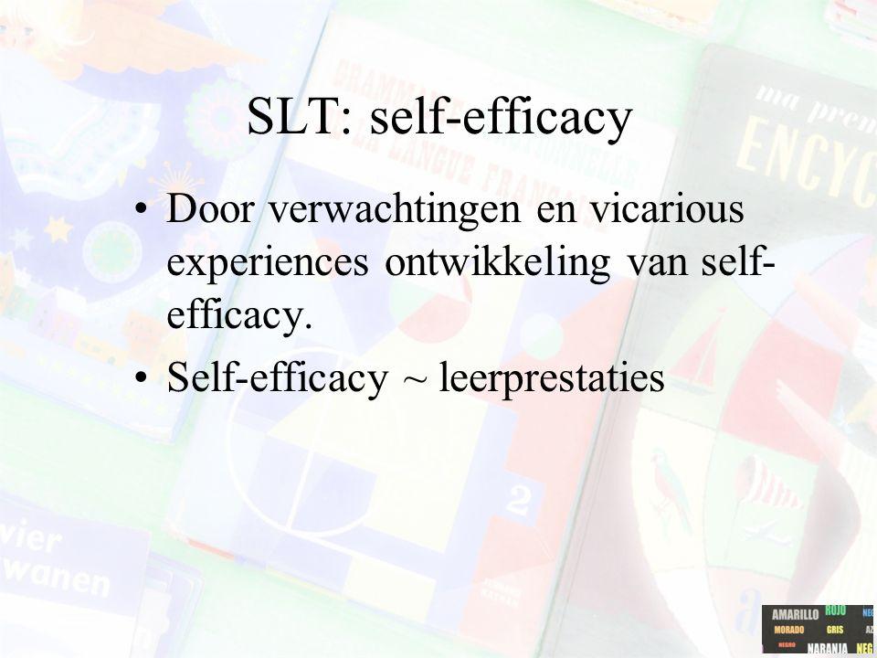 SLT Siegel, Galassi & Ware (1985)= 6% variantie in leerprestaties ~ SLT self-efficacy & outcome expectations Directe bekrachtiging in relatie zien tot