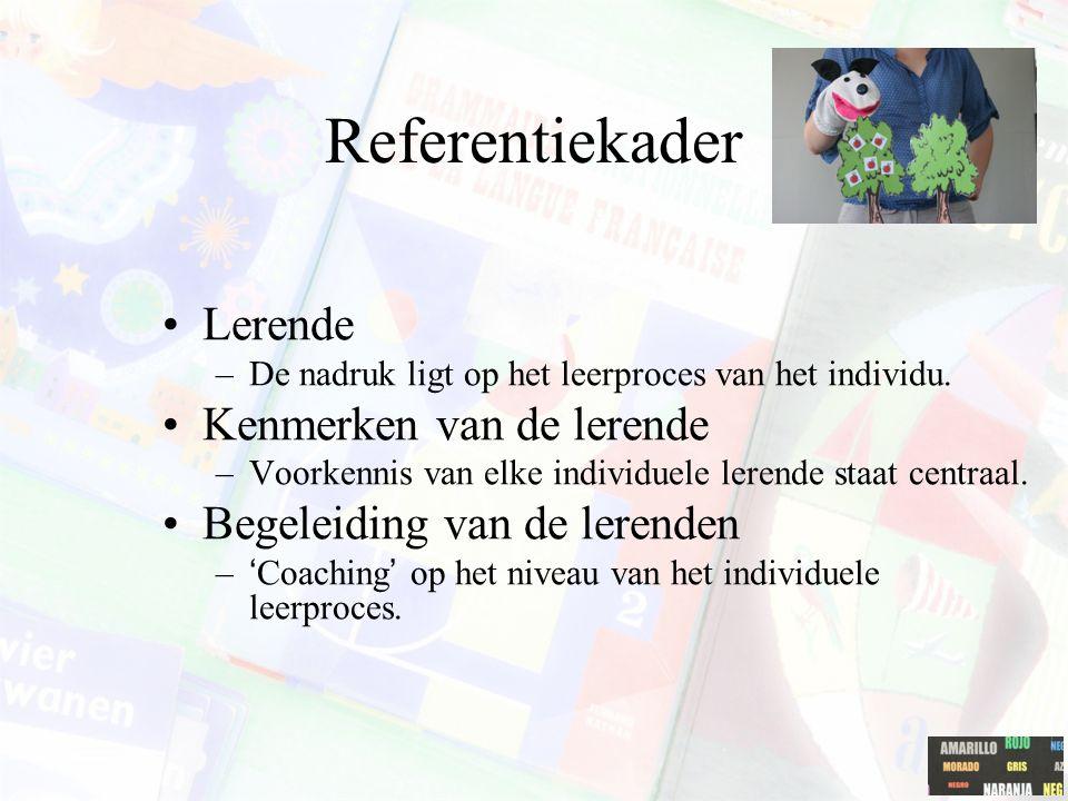 Referentiekader Instructieverantwoordelijke –Hoofdverantwoordelijke voor het instructie. Leren is het gevolg van instructie. –Ook rol als begeleider b