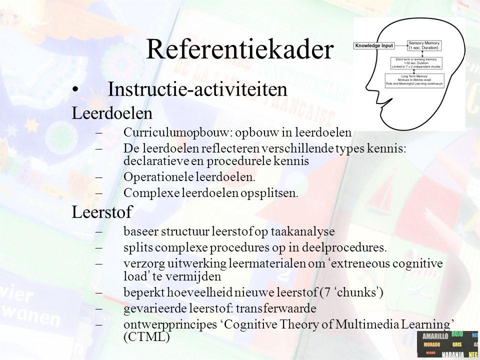 Referentiekader Organisatie –systematische aanpak van instructie op microniveau –beschikbaarheid van multimedia –tijdsplanning aangepast aan individu