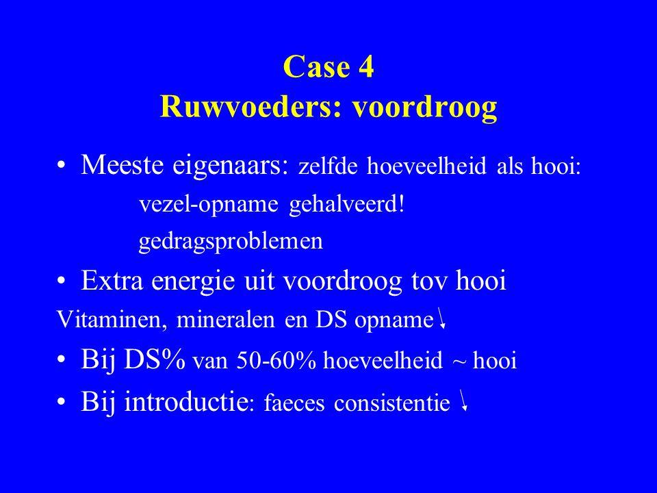 Case 4 Ruwvoeders: voordroog Meeste eigenaars: zelfde hoeveelheid als hooi: vezel-opname gehalveerd! gedragsproblemen Extra energie uit voordroog tov