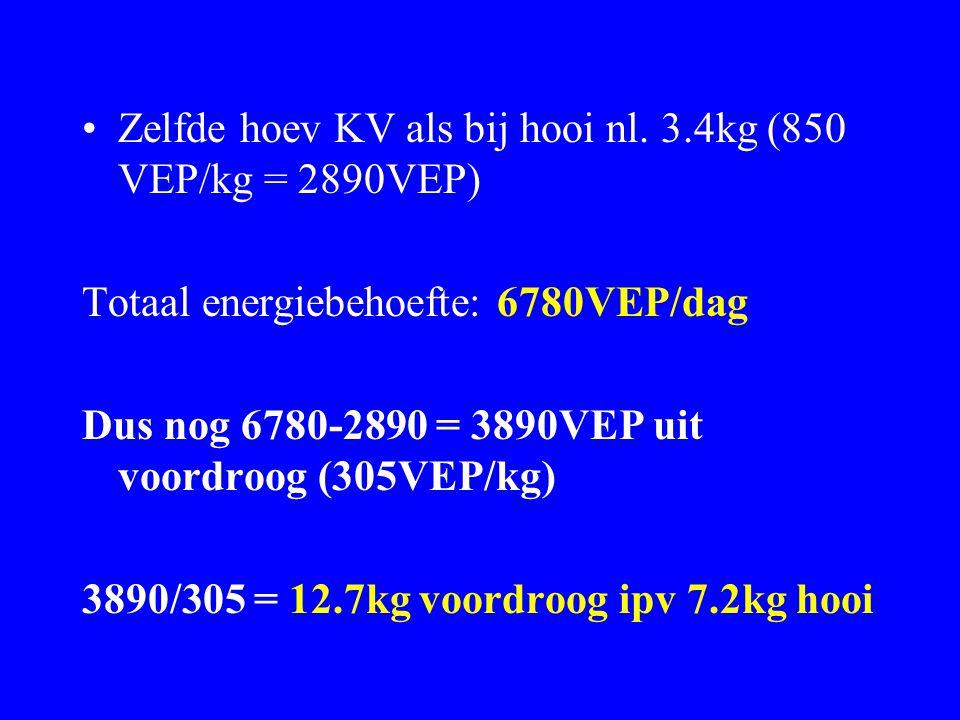 Zelfde hoev KV als bij hooi nl. 3.4kg (850 VEP/kg = 2890VEP) Totaal energiebehoefte: 6780VEP/dag Dus nog 6780-2890 = 3890VEP uit voordroog (305VEP/kg)