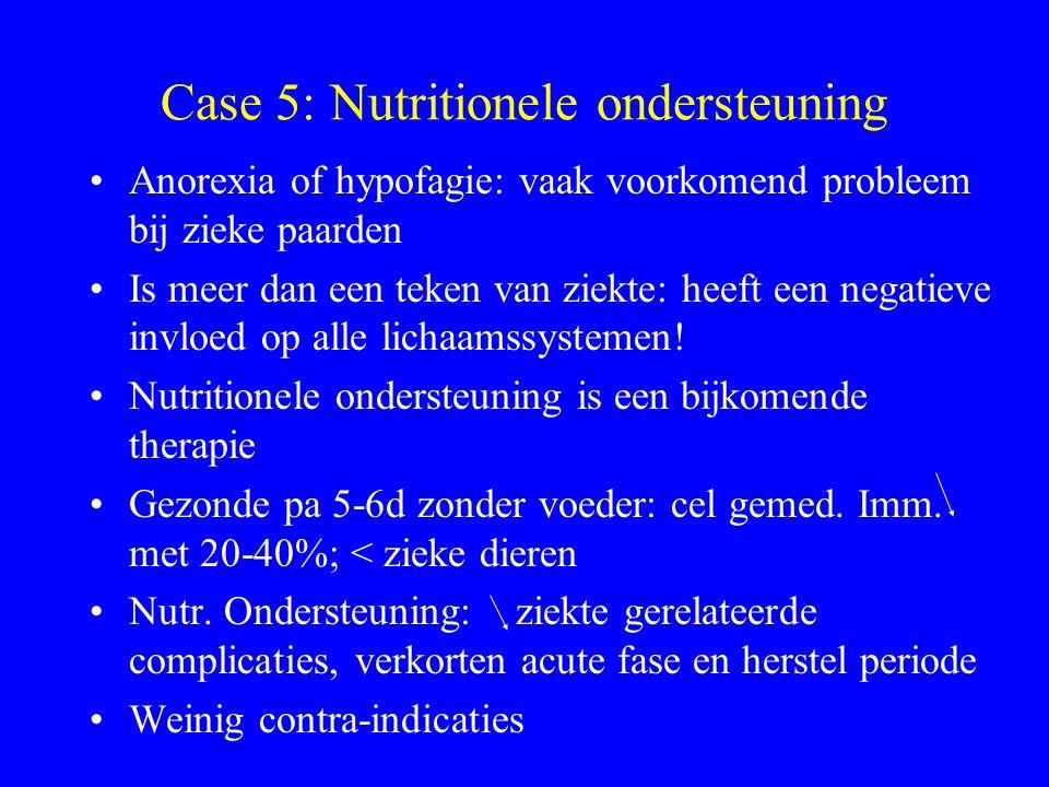 Case 5: Nutritionele ondersteuning Anorexia of hypofagie: vaak voorkomend probleem bij zieke paarden Is meer dan een teken van ziekte: heeft een negat